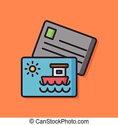 carte postale, voyage, vecteur, icône