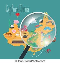 carte, poster., chinois, illustration, aviateur, repères, icônes, vecteur, porcelaine