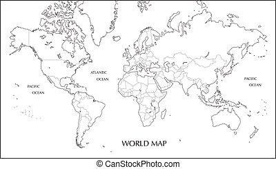 carte, projection, mercator, carte, vide, mondiale, limite, ...