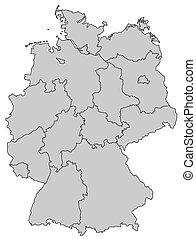 carte, provinces, -, allemagne, gris