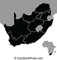 carte, république, afrique, sud
