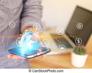 carte, réseau, gestion réseau, concept., média, business, connecté, globalisation, social, mondiale