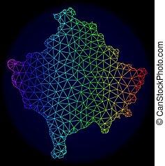 carte, réseau, kosovo, spectre, maille, polygonal, vecteur