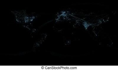 carte, réseau, lignes, haut, éclairage, mondiale