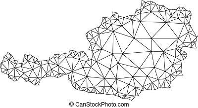 carte, réseau, maille, polygonal, autriche, vecteur
