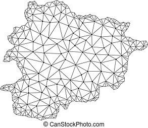 carte, réseau, maille, polygonal, vecteur, andorre