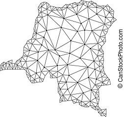 carte, réseau, maille, polygonal, vecteur, république, congo, démocratique