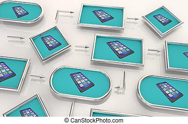 carte, réseau, processus, illustration, téléphone portable, étapes, appareil, nouveau, connecté, intelligent, 3d