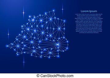 carte, réseau, rayons, illustration., espace, lignes, polygonal, vecteur, étoiles, vatican, mosaïque