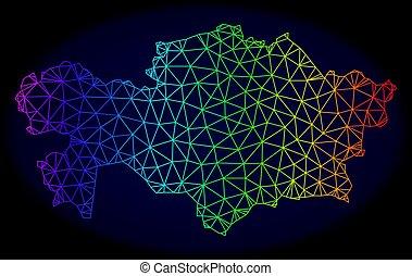 carte, réseau, spectre, maille, polygonal, vecteur, kazakhstan