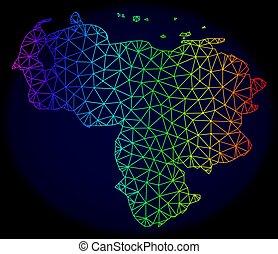 carte, réseau, spectre, maille, polygonal, vecteur, venezuela