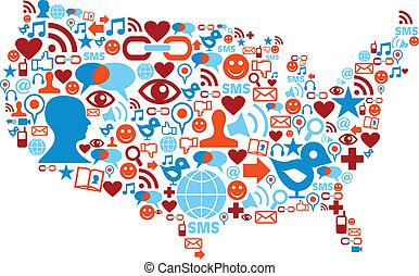 carte, réseau, usa, icônes, média, social