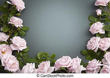 carte, résumé, fleur, salutation, fond