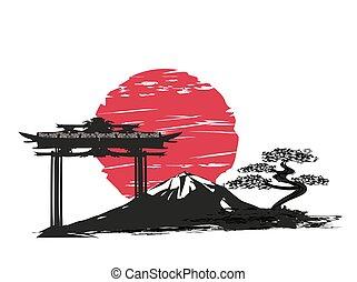 carte, résumé, japonaise, paysage