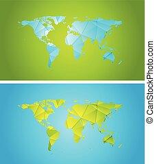 carte, résumé, polygonal, clair, technologie, mondiale, conception