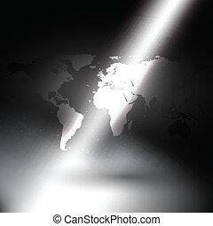 carte, rayons, lumière, vecteur, fond, mondiale