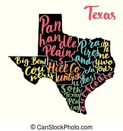 carte, regions., coloré, usa, état, noms, texas, écrit main