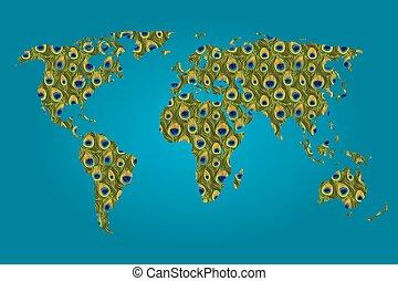 carte, rempli, modèle, mondiale, paon