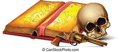 carte, revolver, crâne