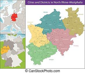carte, rhin-westphalie nord