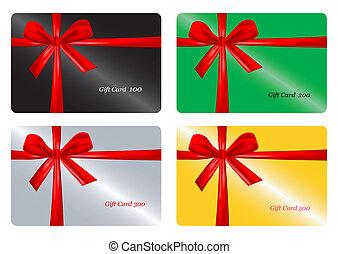carte, ribbon., ensemble, rouges, cadeau