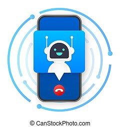carte, robo, business, téléphone., cpam., call., stockage, illustration., mobile, vecteur