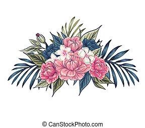 carte, rose, fond, leaves., vecteur, concept, branch., invite., floral, mariage, affiche, flowers., ensemble, invitation, arrangements fleur, ou, rose, conception, vert, salutation