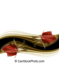 carte, rose, mariage, rouges, invitation, bourgeon