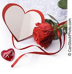 carte,  roses,  art, salutation, rouges