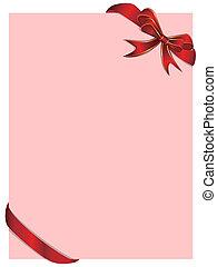 carte rouge, ruban, rose