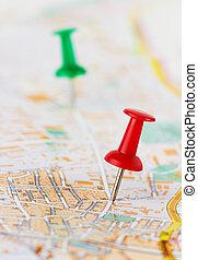 carte, rouge vert, pushpin