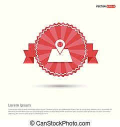 carte, -, rouges, emplacement, bannière, ruban, icône