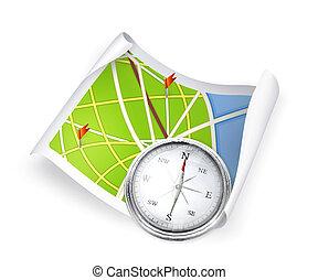 carte, route, compas