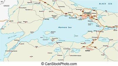 carte route, mer, marmara, istanbul