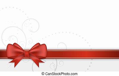 carte, ruban, bow., cadeau, rouges