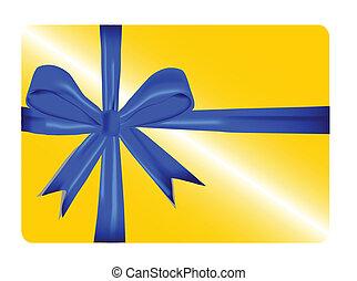 carte, ruban, cadeau, or, rouges