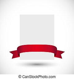 carte, ruban rouge