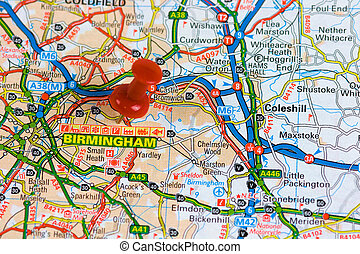 carte, rue, birmingham