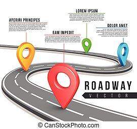 carte, rue, business, vecteur, conception, infographics, route