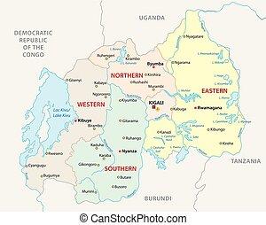 carte, rwanda, vecteur, politique, administratif