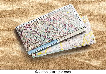 carte, sable, route