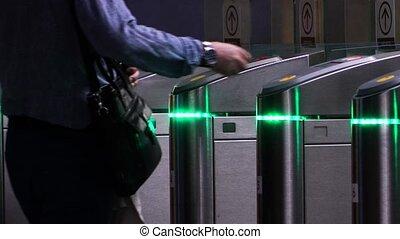 carte, sac, métro, récupérations directes, dehors, homme