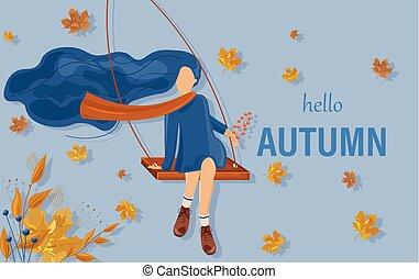 carte, saison chute, balançoire, automne, vecteur, girl, style., affiches, plat