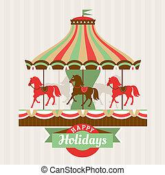 carte, salutation, carrousel