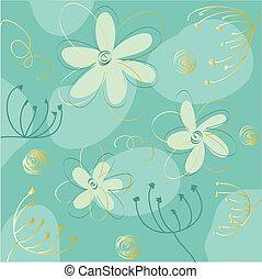 carte, salutation, floral