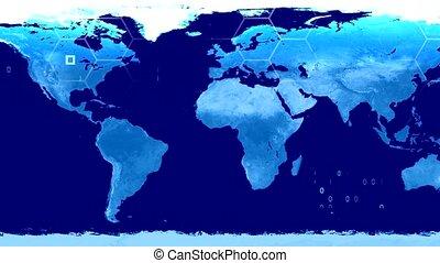 carte, satellite, technologie de pointe, monde numérique, données, vue