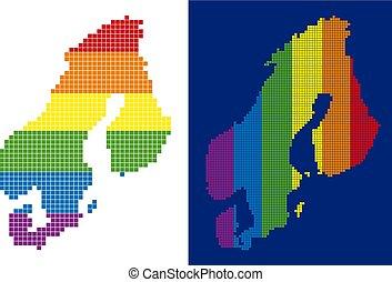 carte, scandinavie, spectre, pointillé, pixel