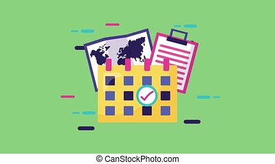 carte, service, papier, liste contrôle, calendrier, ...