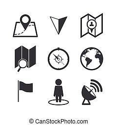 carte, set., icônes