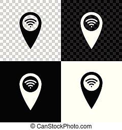 carte, signal, wifi, isolé, illustration, arrière-plan., connexion, vecteur, internet, noir, blanc, indicateur, transparent, icône